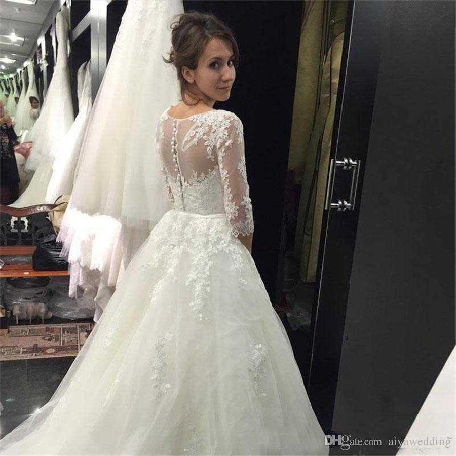 Abiti Vintage 2020 Nova pizzo A Line Wedding 3/4 Maniche vestido de Noiva Sheer collo Abiti da sposa Country Wedding Gowns spedizione gratuita