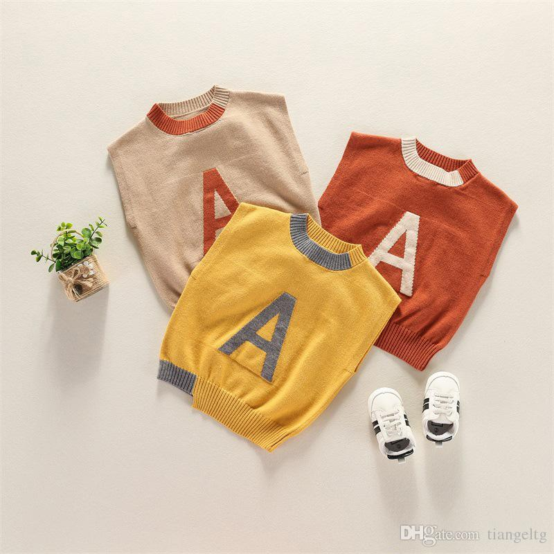 Letter Sweaters Vest Printed A 95% Cotton Fine Wool Yarn Waistcoats Kids  Boys O Neck Jumper Solid Sleeveless Cute Red Yellow Brown Vests Safety Vest