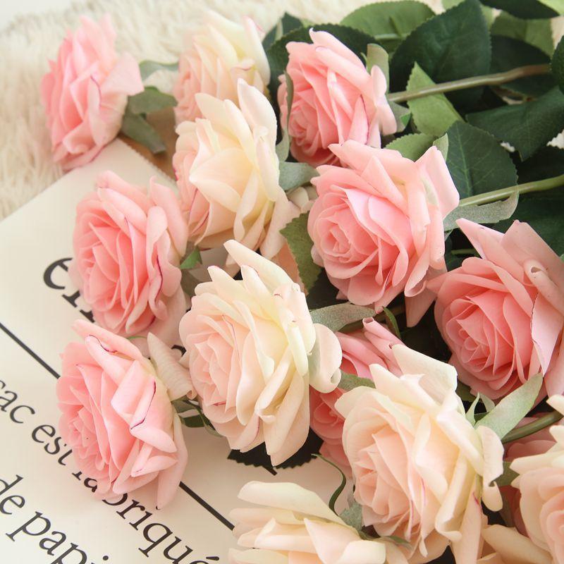7pcs / lot della Rosa della decorazione di fiori artificiali fiori di seta floreale Latex reale tocco Rose Wedding Bouquet casa Party Design Fiori