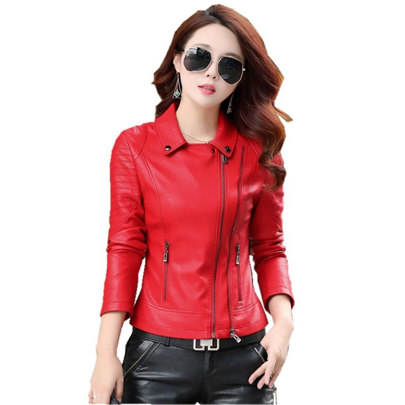 Wholesale- 2017 spring autumn new women's leather jacket high-quality short paragraph motorcycle clothing coat fashion Slim leather parka