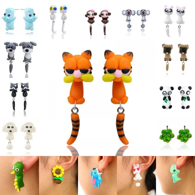 Cute Animal Polymer Clay Earring 32 Styles Handmade 3D Cartoon Dinosaur Dog Cat Pig Fox Panda Ear Stud Xmas Gift D443L