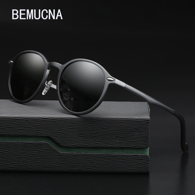 BEMUCNA 2018 THE New occhiali da sole da uomo in alluminio e magnesio polarizzati marea occhiali da guida rotondi classici 8607