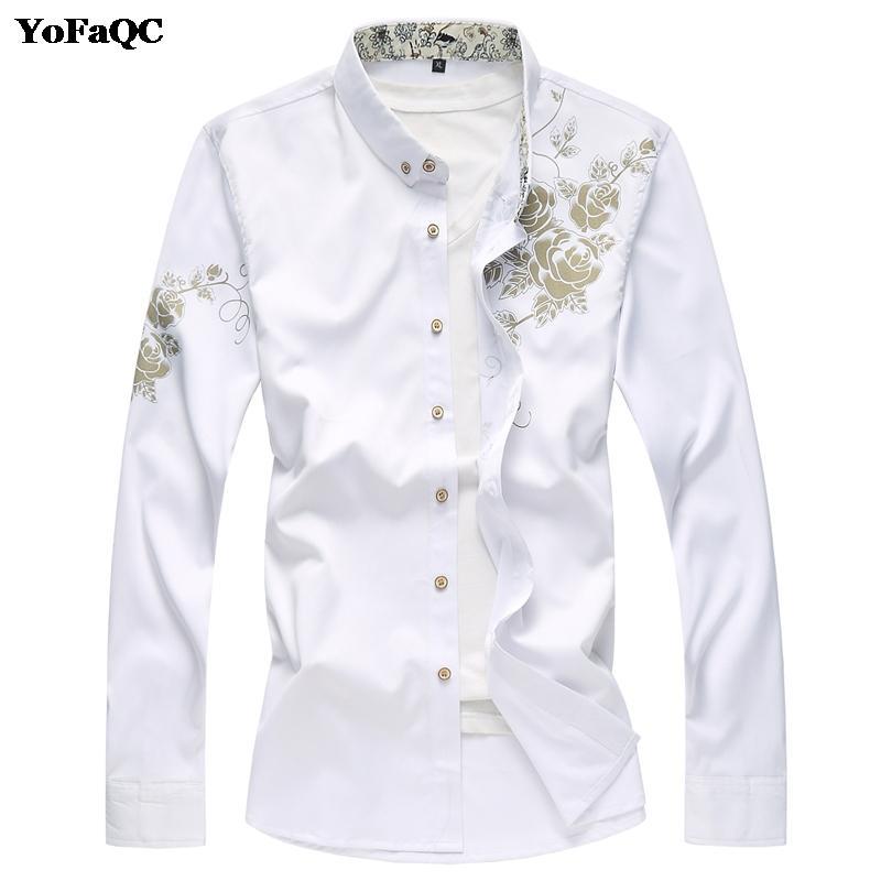 """YoFaQC Automne Hiver Mode Bonne Qualité Hommes Chemise À Manches Longues Camisa Masculina Chinois Style Hommes Impression """"Fleur"""" Chemise"""