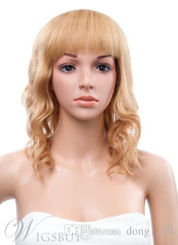 12 pouces moyenne lâche vague capless cheveux synthétiques courte perruque blonde cosplay perruque