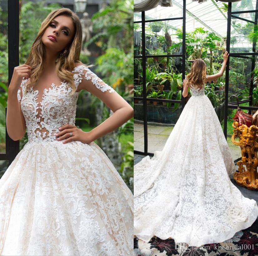 Dubai Vintage Volle Spitze Brautkleider Illuison Long Sleeves Brautkleider Sheer Mieder Gericht Zug Arabisch Brautkleider