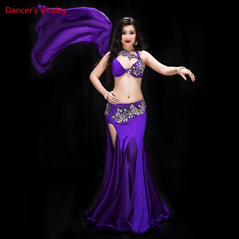 Trajes de Dança do Ventre Profissional Desempenho Ajustado 2 pcs Avançado diamante Bra + Dividir saia longa Dança Do Ventre Traje Oriental