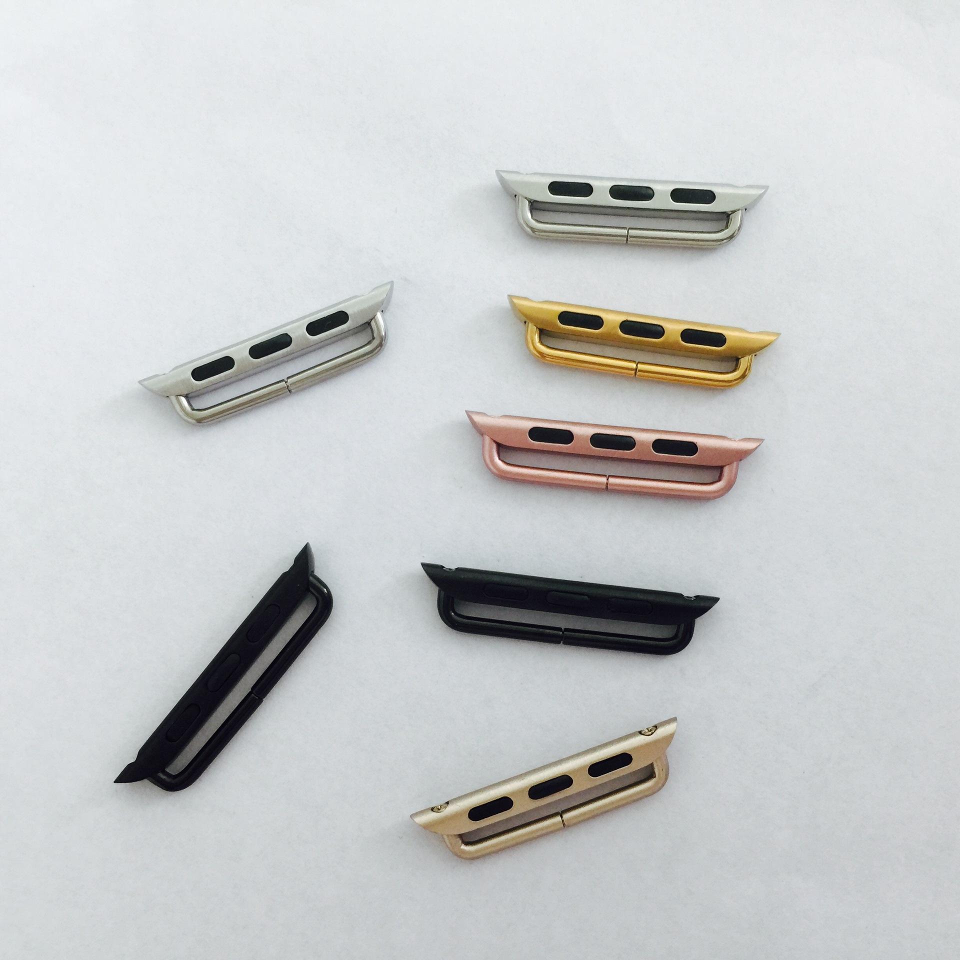 Ett par Metal Band Adapter Connector för Apple Watch Serie 6 5 4 3 1 2 SE 38mm 42mm 40mm 44mm SPORT EDITION WATCHBAND 100 par / partier