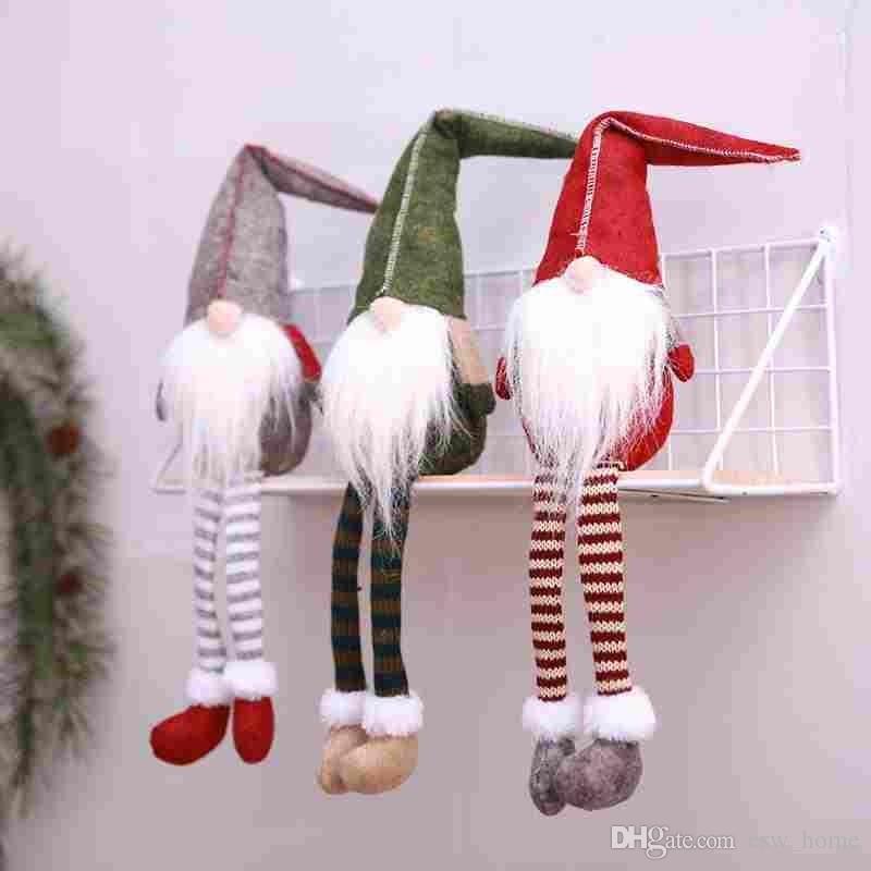 Decorazione natalizia Carino Seduta a gambe lunghe Elf Festival Capodanno Dinner Party 2018 Decorazioni natalizie per la casa