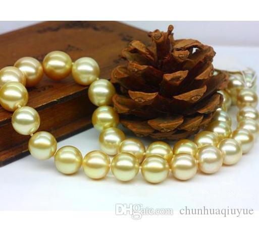 Heißer Verkauf 9-10mm Runde Südsee Gold Perlenkette 18 Zoll 14 Karat Gold Verschluss Perlen Halsketten