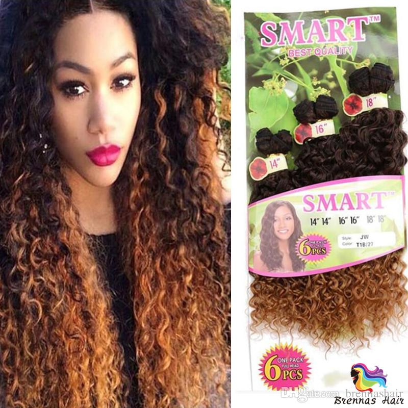 hot Synthetic Hair Weaving Ombre Black Bug Purple Color Weft Hair Curly Synthetic Hair Extensions for full head 6pcs/lot 16 18 20inc