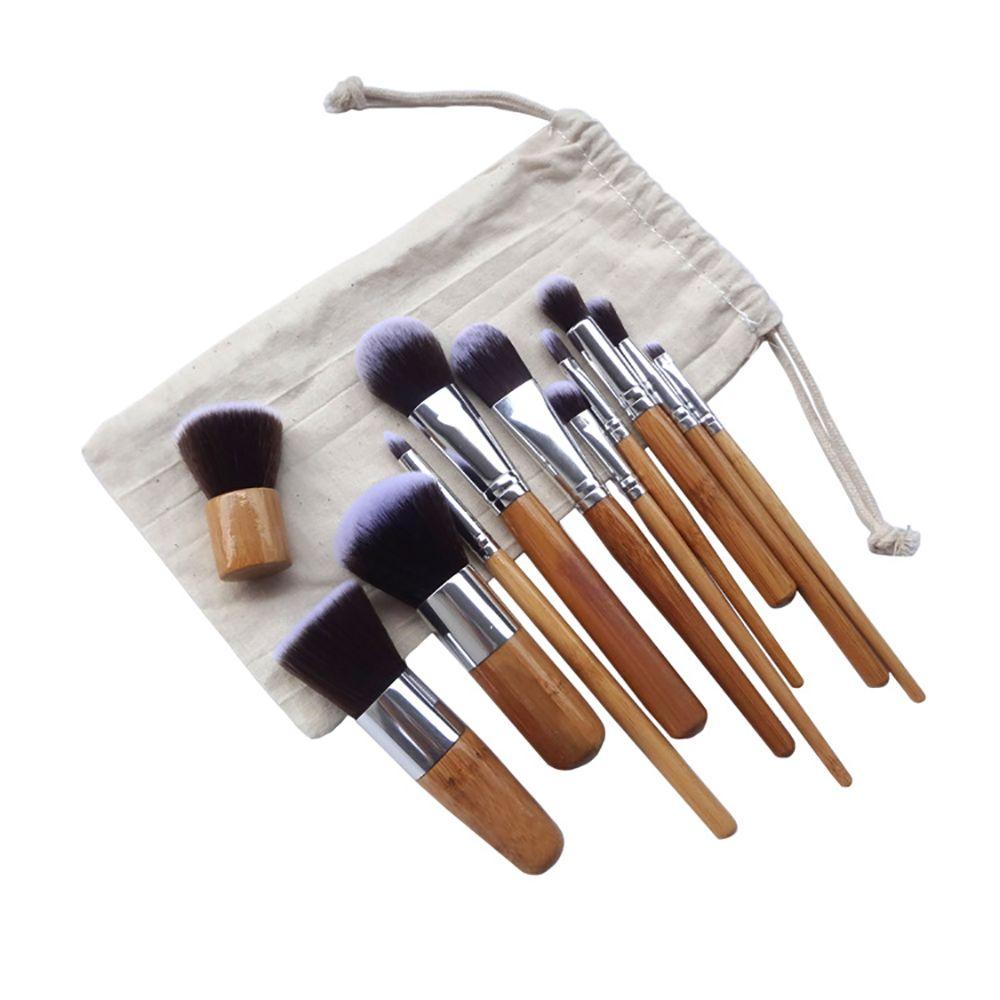 Vôsaidi 11Pcs Profesional de bambú Mango de cepillo del maquillaje de Kabuki Fundación mezcla Blush corrector de ojos Cara polvo líquido de crema cosmética Brus