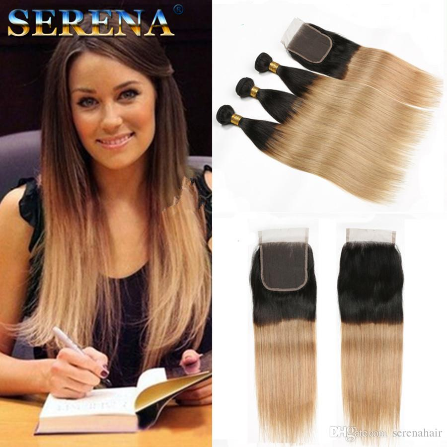 Grade 9A Brazilian Straight Ombre Human Hair Extensions 3Pcs #1B 27 Honey Blonde Dark Roots Ombre Brazilian Human Hair Weave Bundles