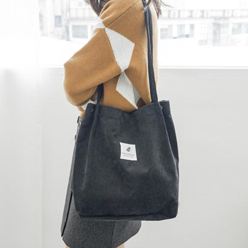 New Fashion Corduroy Women Shoulder Bag with Snap Button Large Capacity Ladies Handbags Cotton Lining Durable Hand Bags