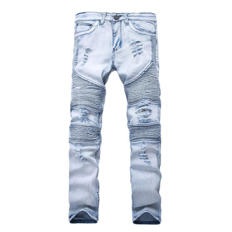 Mens Jeans Skinny With Slim Elastic Denim Fashion Bike style Jeans Men Pants Ripped Hole Jean For Men Plus Size 28-38