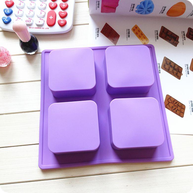 Free shipping 5 pcs linkSilicone Silica gel square-fashion 4 handmade soap DIY cake mould 120g
