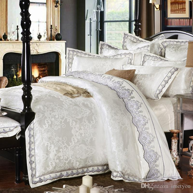 White Gold Silver Pink Jacquard Luxury, Silver And White Bedding Sets