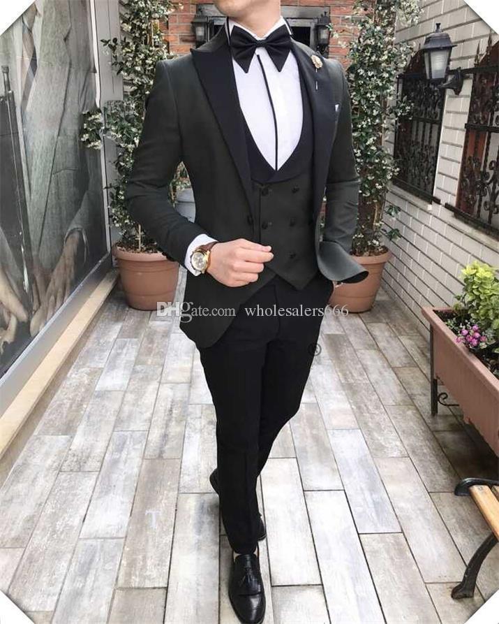 Esmoquin de novio de alta calidad Negro Best Man Peak Lapel Padrinos de boda Hombres Trajes de boda Novio (Chaqueta + Pantalones + Corbata + Chaleco) W68