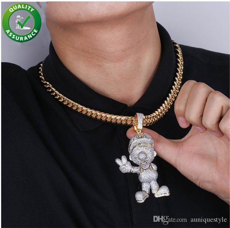 Mario Iced Out Pendant Hip Hop Designer Jewelry Mens Luxury Diamond Necklace Gold Miami Cuban Link Chain Micro Paved Bling CZ Punk Rapper