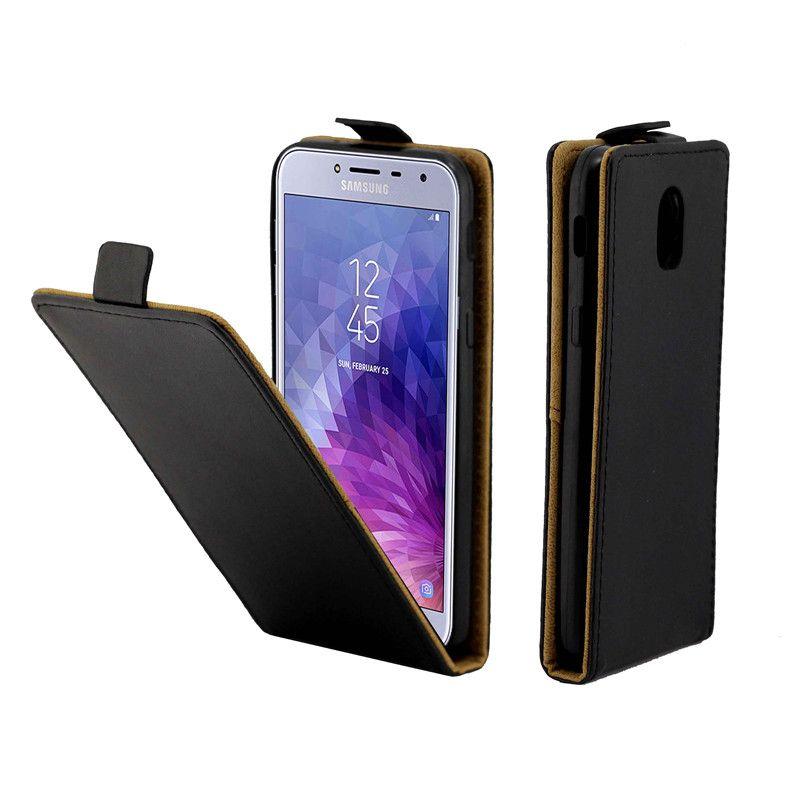 Biznesowe skórzane etui na telefony komórkowe dla Coque Samsung Galaxy J4 Pionowe pionowe klapki karty