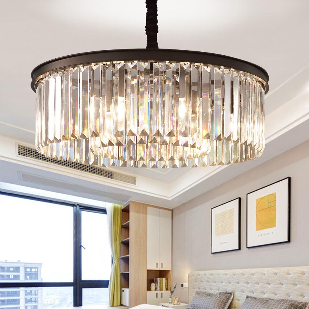 Круглая форма хрустальная люстра свет люстры люстры подвесной светильник для домашнего ресторана Кристалл американский стиль подвесной светильник