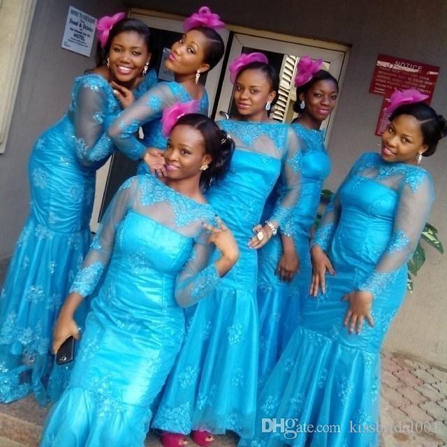 Vestidos de dama de honor de color azul brillante Manga larga Sirena africana Vestidos largos de fiesta de graduación Bateau Cuello con cremallera Volver Vestido de noche