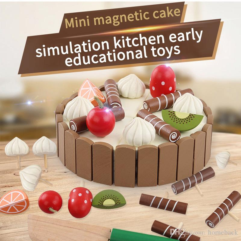Wooden Simulation Cake and See Every Toy Size 11 cm * 3 cm To The Child's Birthday Present Montessori Interests Intellectual Toy