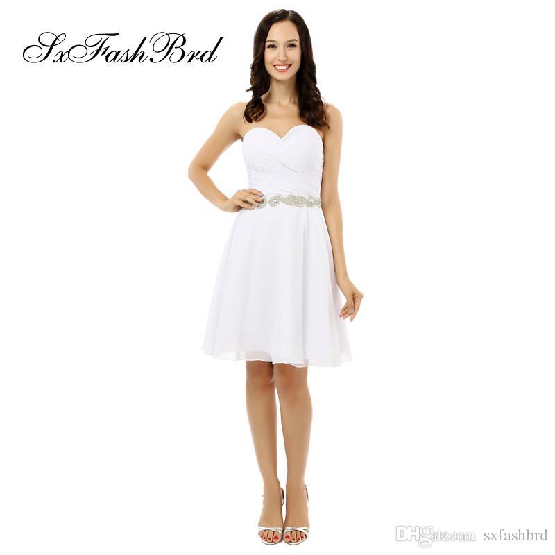 Fashion Elegant Ruffle Sweetheart A Line Waist With Beading Mini Short White Chiffon Party Formal Evening Dresses for Women Prom Dress