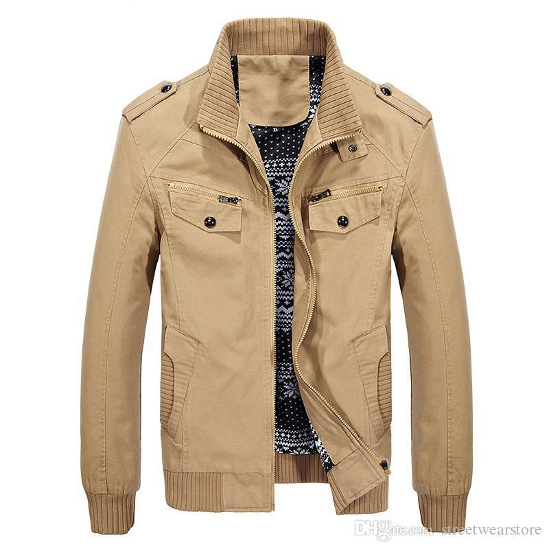 Spring Cotton Military Jacket Men Plus Size 4XL Mens Army Jacket Zipper Stand Collar Cargo Jacket Men Bomber