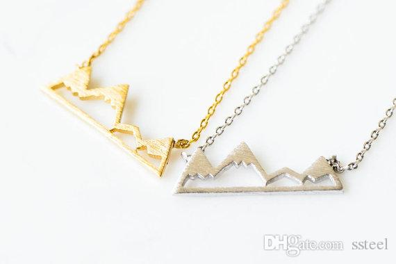 10PCS بسيط ثلجي قمة الجبل قلادة الطبيعة المناظر الطبيعية عرض وادي كانيون عظم الترقوة يدويا المجوهرات هدية للنساء