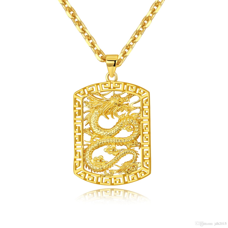 """20"""" Hip Hop Men Necklace Long Chain Link Punk Gold Dragon Tag Pendant Necklace"""