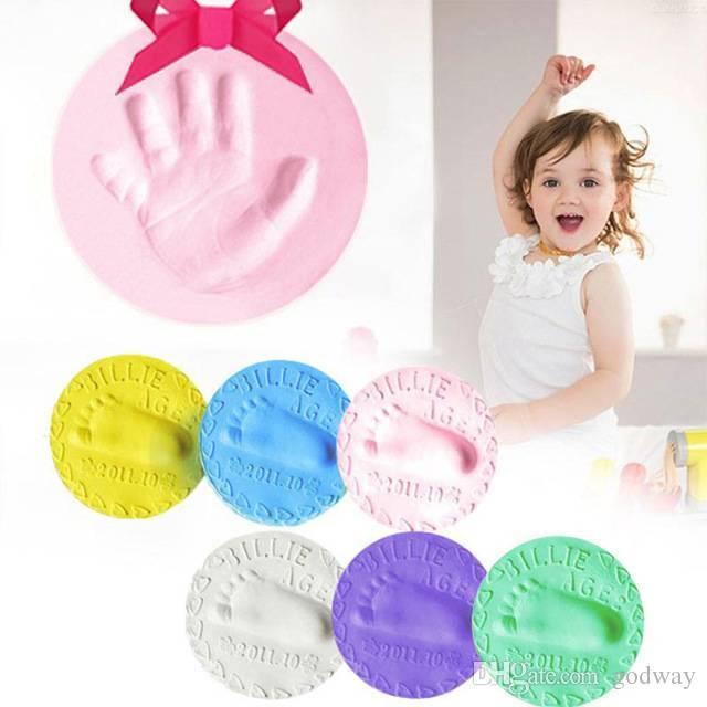 Baby Handprint Footprint Keepsake Kit Soft Nontoxic Ink Pad Air Drying Clay