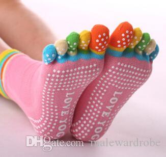 Женщины Йога Носки Хлопок Анти-Скольжения Красочные Длинные 5 Пальцев Носки Мода Нижнее Белье