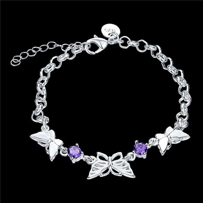 Free shipping!Butterfly Bracelet 925 silver bracelet JSPB535;low price girl women sterling silver plated Charm Bracelets