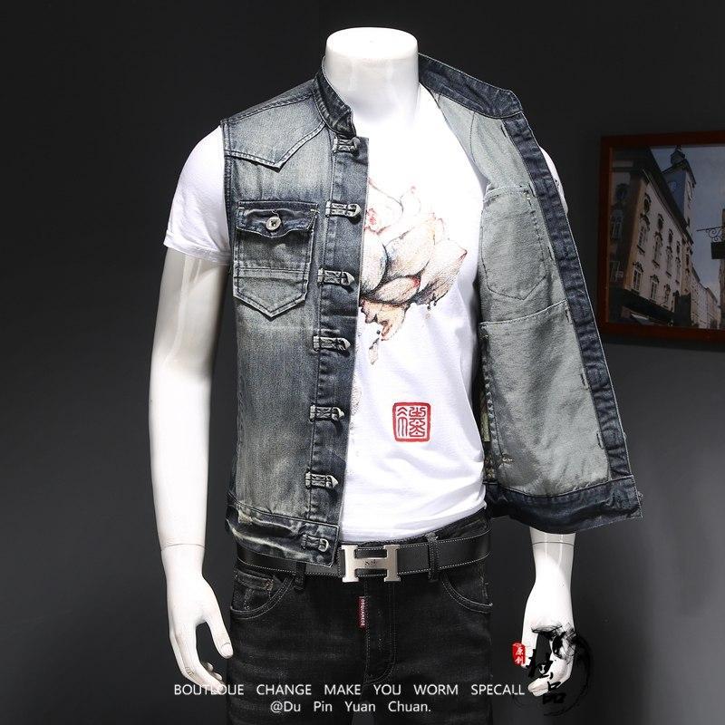 Hommes Denim Gilet Vintage Sans Manches Lavé Jeans Gilet Homme Vintage Design Cowboy Déchiré Veste Gilet Hommes Casual Costume Gilet