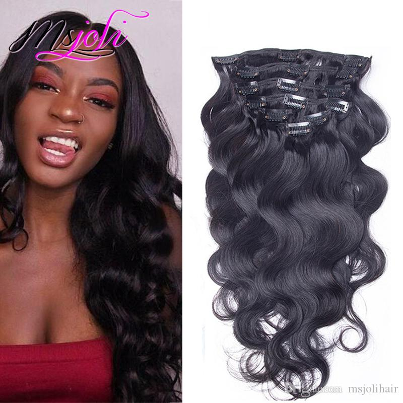 9A Grade 100% Virgin Body Wave Clip In Human Hair Extensions Wavy 10-28inch Indian Virgin Clip In Hair Extensions 140g Human Hair Full Head