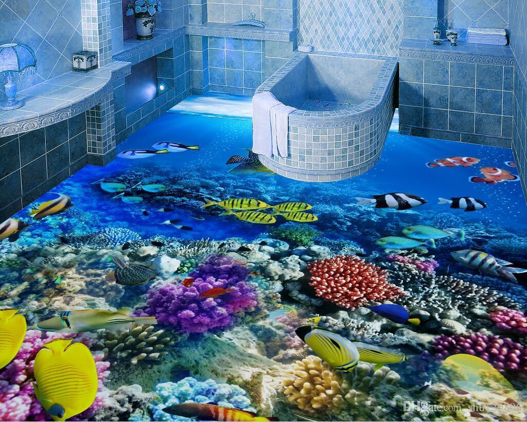 3d Pvc Flooring Custom Photo Waterproof Floor Room Tropical Fish