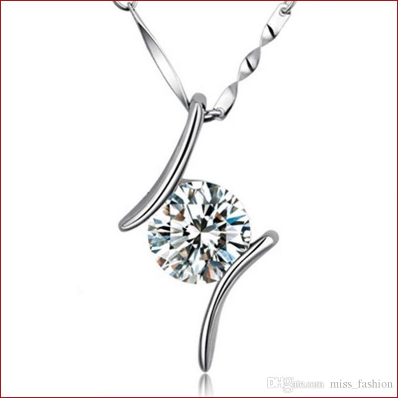 Vrouw zilveren ketting hanger sieraden gratis verzending kristal elegante dubbele lijn diamant paar bruiloft hanger ketting