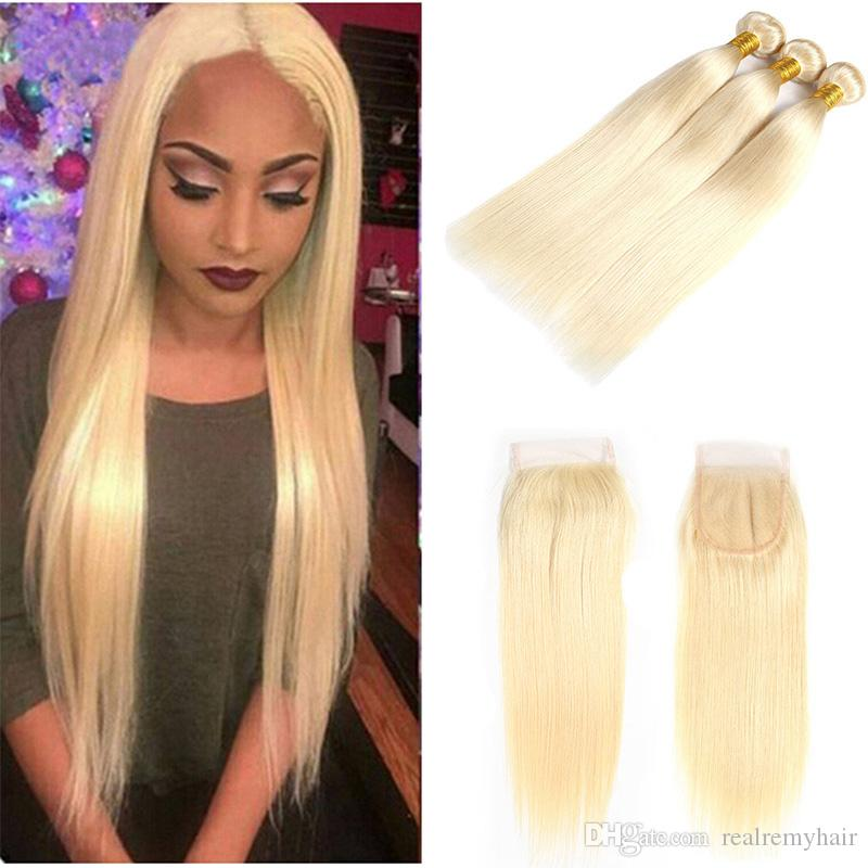 Brazilian 613# Honey Blonde Hair Weave Bundles With Closure Honey Blonde 3 Pieces Human Hair Extensions With Closure Non Remy Hair