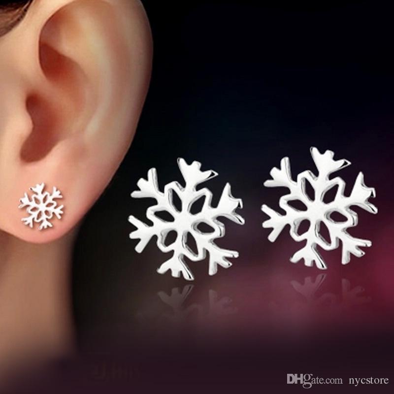 Ohrringe für Frau Schmuck Weihnachtsgeschenk Damenmode Silber überzogene Schneeflocke Ohrstecker