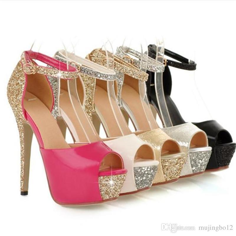 Yeni payetli su geçirmez bayanlar yüksek topuk sandalet