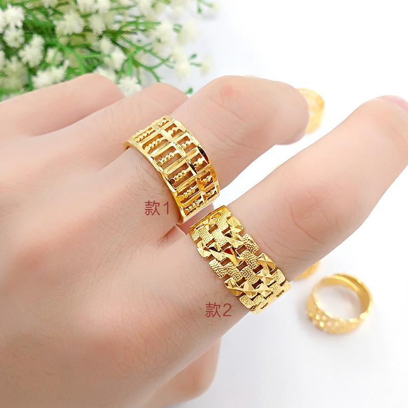 Gold, gold and gold, male and female alike, hollow open abacus, open ring, brass plated ring, booth, wholesale of goods.