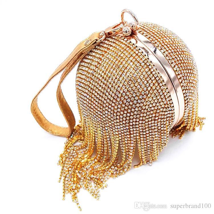 Golden Diamond Quaste Frauen Party Metall Kristall Kupplungen Abendtaschen Hochzeit Tasche Braut Schulter Handtasche Wristlets Clutch Geldbörse