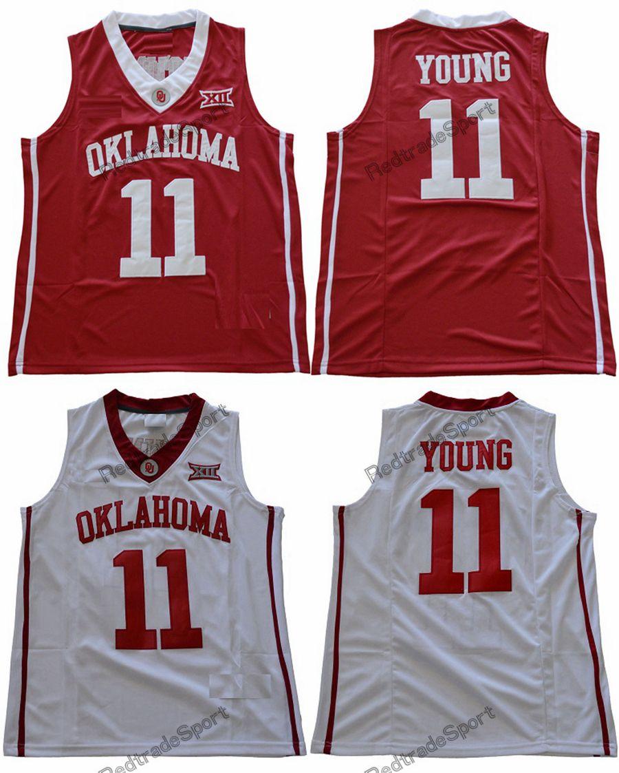 2018 رجل أوكلاهوما سونرس تراي يونج كوليج كرة السلة الفانيلة رخيصة # 11 هوم ريد تي يونج قمصان مخيط