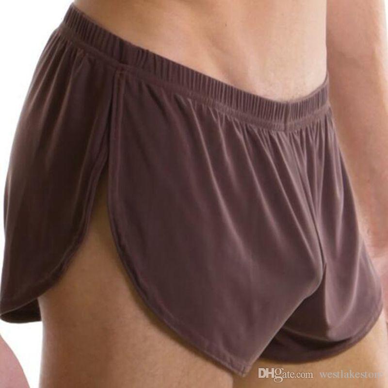 Мужчины мужчины нижнее белье удобные сексуальные мужчины боксер шорты U выпуклый мешок Шелковый сексуальное тело XXL размер трусы завод продажа