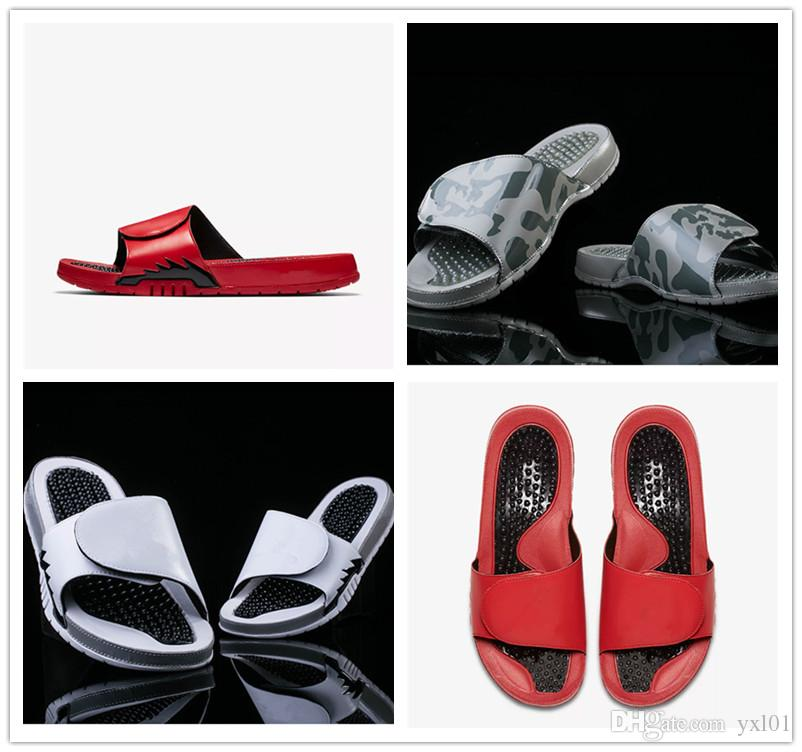 NEW 2018 Hydro 5 Sandals Flame Camouflage Wolf Grey Massage Slippers 5s Red White Black Slides Shoes Outdoor Casual Sports Slipper EUR 40-47