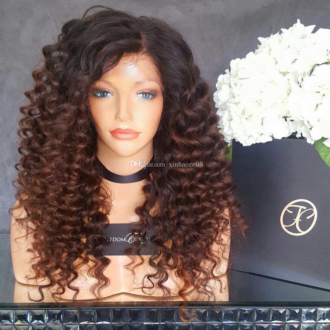 변태 곱슬 Ombre 레이스가 발 1B # 30 전체 레이스가 발 인간의 머리카락 8A 처리되지 않은 브라질 레이스 프런트가 발 검은 색 여성을위한 아기 머리