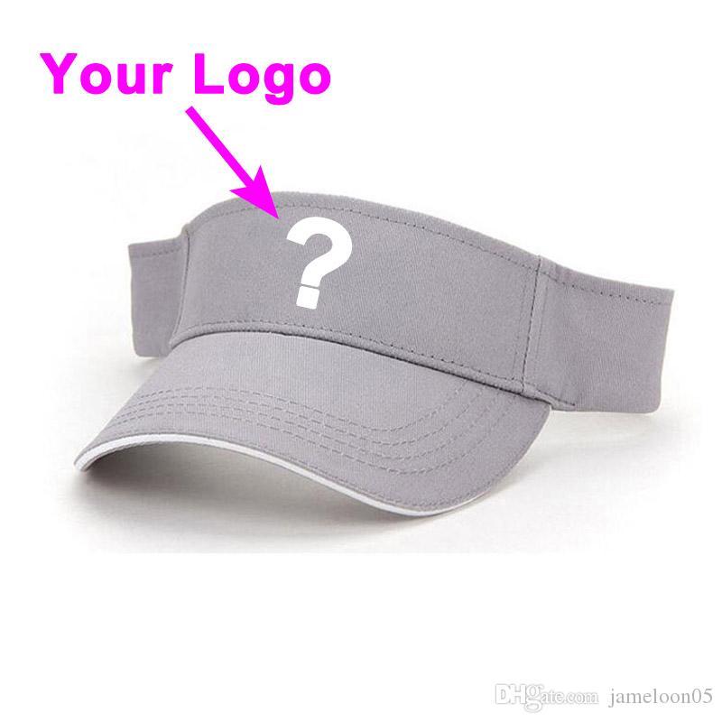 Güneş şapka taç olmadan saf pamuk kumaş unisex turuncu renk ayarlanabilir boyutu açık sportor tenis vizör şapka beyzbol özel kap