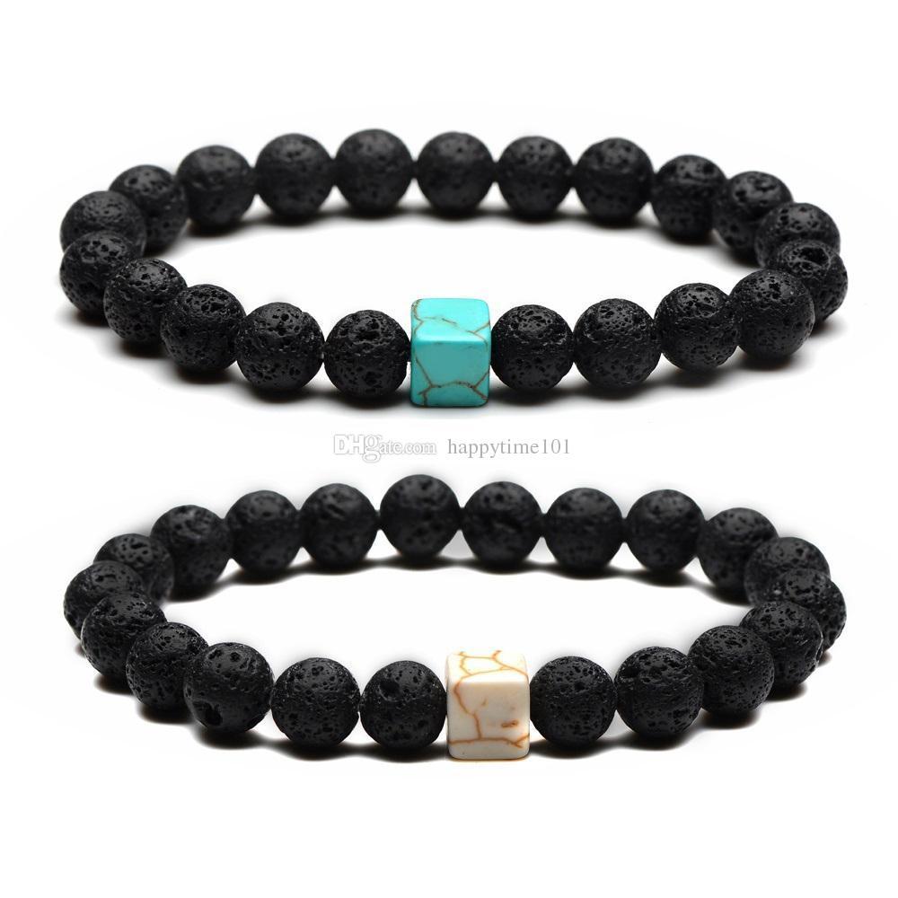 Moda 8MM naturale pietra lavica nera braccialetto quadrato turchese borda Lovers Bracciali per gli uomini regali delle donne