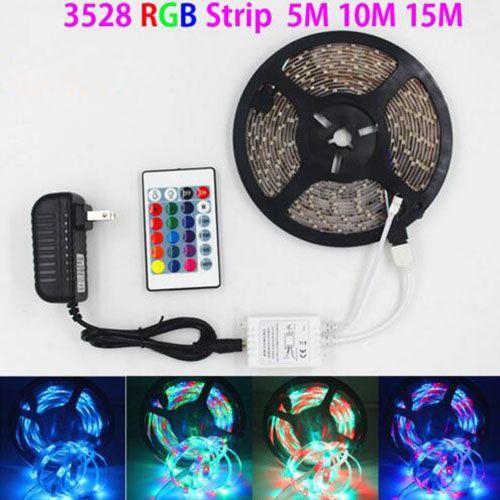 SMD 3528 5M 10M 15M 300LED RGB bande LED éclairage extérieur imperméable à l'eau Multicolor bande de ruban adaptateur DC12V ensemble 24keys