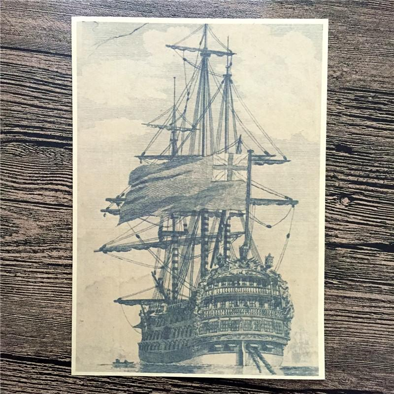 Free ship Ancient sailboat port poster paint retro Kraft Poster vintage Wall Art Sticker Living Room picture 42*30CM YIP-A056